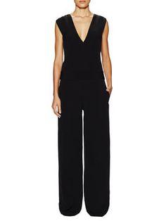 Sleeveless Buckle Trim V-Neck Jumpsuit from Designer Apparel: Sizes 4 on Gilt