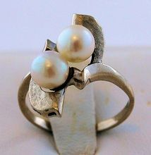 Vintage Arts and Crafts Cultured Pearl and Silver Ring from Antik Avenue on Ruby Lane SOLD!