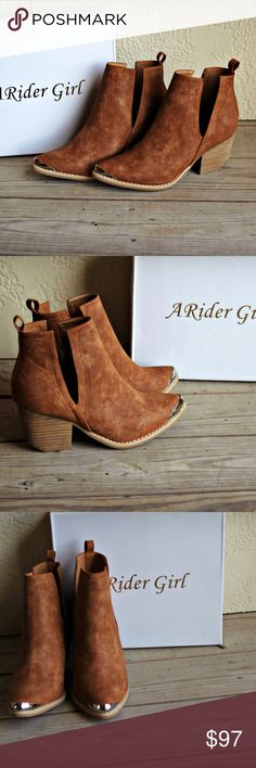 ARider Girl | Suede Cognac Ankle Booties These are a beautiful of ARider Girl western ankle booties! So gorgeous! Rich suede cognac tan color, with a golden toe. These are definitely a closet staple!  Awesome for dressing up winter outfits. Throw on jeans, a cute sweater, and these booties to complete a chic outfit :)  Brand new. Size 9. ARider Girl Shoes Ankle Boots & Booties