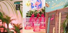Deco de soirée DIY ambiance Miami, palmiers et flamants roses ! A retrouver sur le blog www.sunsetlovers.fr