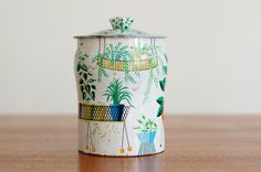 Vintage Tin Canister Mid Century by HouseofSeance on Etsy