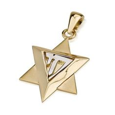 Star of David and Chai Pendant in 14K Gold