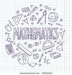 Hand drawn vector school set, mathematics. Can be used for your design. - stock vector