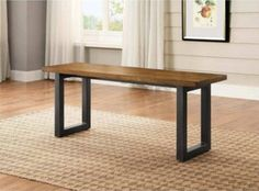 Dining Table Bench Kitchen Furniture Wood Surface Sturdy Metal Base Seats Two #BetterHomesGardens