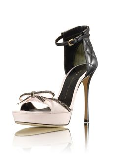 Luis Onofre Rose Glitter Bow and Black Quilted Ankle Straß Sandal SS2014 #Shoes #Heels
