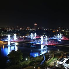 The I-35 bridges through Waco by the Baylor campus lit up blue, white & red after the tragedy in Paris. #PrayForParis #BaylorForParis
