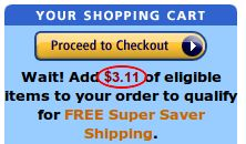 Amazon filler item finder.  This is a great website! You know when you are trying to hit a $ 25 order to get Amazon's free shipping, and you are a few dollars short? Type in the amount you need and this site will give you a list of products at that price that qualify for free shipping, so you can round out your order!