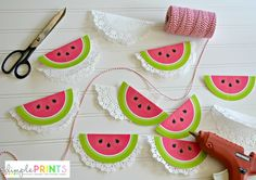DimplePrints Watermelon Doily Garland Free Printable on iheartnaptime.com