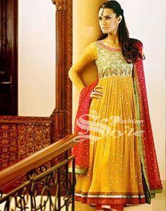 yellow and red anarkali