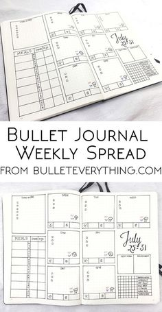 Creative Organization: The art of keeping a bullet journal. This is a nice, clean, easy to create Weekly Spread for your bujo.
