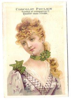 Jeune femme - Robe Ruban  - Chromo Chocolat Poulain - Trade Card