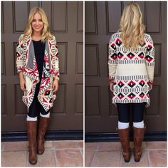 Ivory and Red Aztec Print Oversized Cardigan Sweater