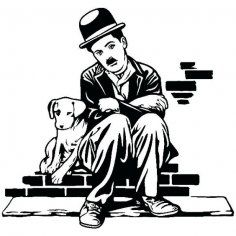 Vector Preto E Branco Charlie Chaplin Charlot Dog life Sticker dxf File Charlie Chaplin, Stencil Art, Stencils, Art Sketches, Art Drawings, Black Art, Black And White, 3d Laser, Silhouette Art