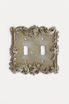Ornate Rose Light Switch Plate Brass Double