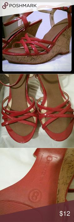 Red Wedges Red patent leather wedges from no boundaries. Previously worn. Price reflects use. no boundaries  Shoes Wedges