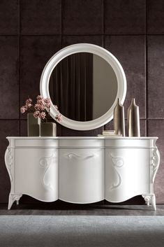 The striking Italian Elaborate 3 Door Cabinet and Mirror Set is a fabulous in any setting. available at Juliette's Interiors. A large collection of contemporary designer furniture to enhance any interior design. Furniture Dolly, Home Decor Furniture, Luxury Furniture, Farmhouse Furniture, Kids Furniture, Furniture Design, Luxury Office, Sideboard Cabinet, Mirror Set