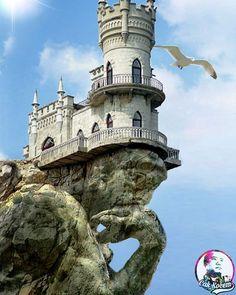 #art #fantasy #cakkocem #wallpaper #landscape #castle #cliff #rocks #sculpture #statue #livingoutdoor #photography #photomanipulation #manipulation #ima... - Cak Kocem fantasy waterfall - Google+