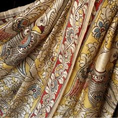 Exquisite hand painted silk Kalamkari saree   Indian textile Madhubani Art, Madhubani Painting, Indian Textiles, Indian Fabric, Traditional Sarees, Traditional Art, Kalamkari Designs, Hand Painted Sarees, Saree Jewellery
