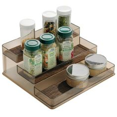 InterDesign Twillo Stadium Spice Rack 2, Bronze/Sand by Interdesign. $18.00. Read labels easily. Bronze finish. Space-saving design. Organize your spices. Luxurious woven wire construction. Woven wire in bronze or metallico makes the Twillo collection unique and stylish. Steel wire holds these space-saving pieces to give your home added appeal. A spice rack gives your food-improvers the respect they deserve. Those jars of oregano and cumin and dill will appreci...