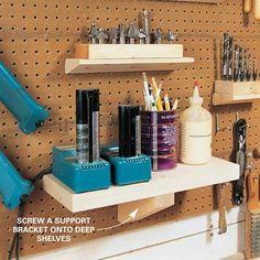 How to make shelves for peg boards