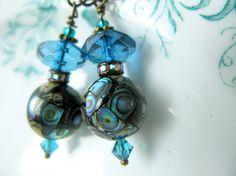 Paua Shell Earrings   Handmade Jewellery in by VintageRoseShop, $46.00
