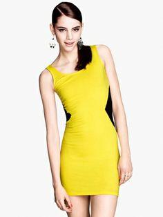 Women's Slim Split Joint Sleeveless Elastic Dress Yellow