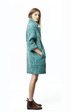Zara TRF Turquoise Coat via Honey Kennedy