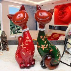 Cheap Moda creativa gato Lucky Lucky adornos de resina pareja decoración artesanía regalos de boda regalo, Compro Calidad Wood Crafts directamente de los surtidores de China: