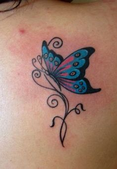 Nice Butterfly Tattoo On Upper Back For Girls