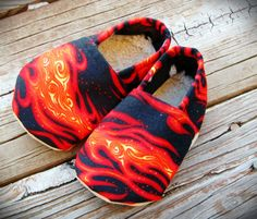 Hot Baby Shoes! Add some motorcycle, skull, or firefighter buttons to spice it up.