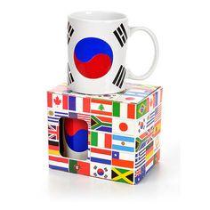 Caneca Criativa Bandeira Coreia do Sul Mug 300 ml Porcelana: Esta caneca foi feita para você torcedor, assista aos jogos da copa, comendo pipoca e bebendo um refrescante refrigerante ou suco com esta fantástica caneca com a bandeira da seleção Sul-Coreana impressa em alta qualidade.