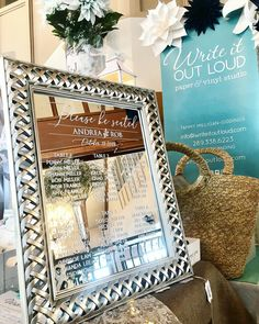 """Write It Out Loud on Instagram: """"1 week until the @hollandmarshwineries Wedding Open House! Next Saturday March 2 from 11-4. See you all there!"""" Wedding Mirror, Next Saturday, Vinyl Paper, Seating Charts, Out Loud, Open House, Mirrors, March, Writing"""