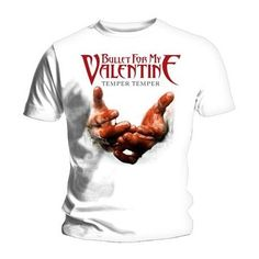 Bullet For My Valentine Unisex Tee: Temper Temper Blood Hands Wholesale Band Shirts, Tee Shirts, Bullet For My Valentine, Valentine T Shirts, Mens Tees, Cool Outfits, Short Sleeves, Blood, Hands