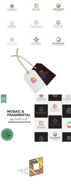 Business Company, Mosaic Designs, Vector File, Logo Templates, Packing, Photoshop, Pottery, Logos, Crafts