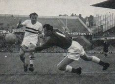 Wales 2 Hungary 1 in 1958 at the Rasunda Stadium. Wales keeper Jack Kelsey comes out to save in the Group 3 play-off at the World Cup Final.
