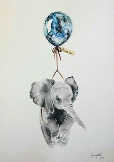 art, elephant, and balloon afbeelding