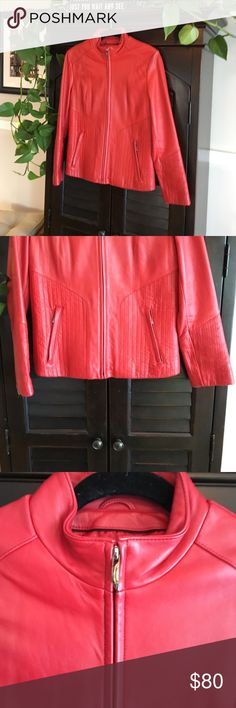Red leather jacket by Venus Williams Venus Williams red 100% leather jacket, size medium, lined with thinsulate ultra.  Made exclusively for Wilsons Leather Venus Willams Wilsons Leather Jackets & Coats