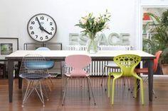 chaises depareillees, chaises dépareillées, dining room, salle à manger