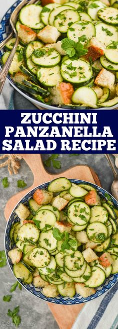 Zucchini Panzanella Salad is the perfect summer side dish! This is my dad's awesome recipe that I crave during summer months. Side Dishes For Chicken, Summer Side Dishes, Side Dishes Easy, Vegetable Side Dishes, Side Dish Recipes, Vegetable Recipes, Chicken Recipes, Easy Holiday Recipes, Fun Easy Recipes