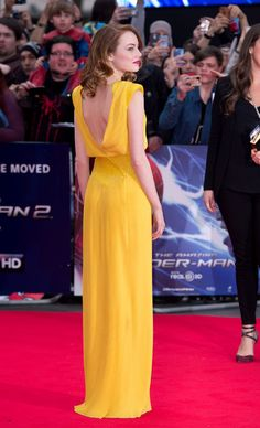 The back of Emma Stone's gorgeous Versace dress at the Spider-Man premiere
