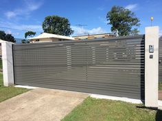 Aluminium sliding gate in 'slate grey', with video intercom & access control installed on the #GoldCoast.