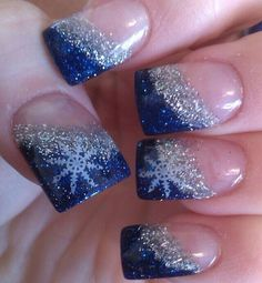 Slanted tips blue silver winter Christmas