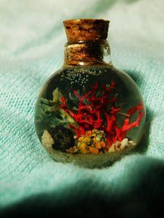 Coral reef Glass bottle Pendant. €12.00, via Etsy.