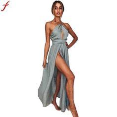 2018 Summer Vestidos Women Boho Long Chiffon Dress Evening Party Casual Sleeveless  beach maxi dress vestidos Dress Sundress 66dd10985d07