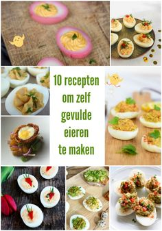 10  #recepten om zelf #gevulde  #eieren te maken  #Pasen Weight Watchers Menu, Egg Omelet, Tapas, High Tea, Cantaloupe, Nom Nom, Food And Drink, Fish, Snacks