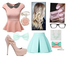 Pastel Buissness Girl by jordanfashion14 on Polyvore featuring polyvore, fashion, style, J.TOMSON, FAUSTO PUGLISI, Full Tilt, Irene Neuwirth, River Island, Ray-Ban and Accessorize