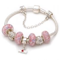 Mothers day gift! Pink murano glass beads mom pendant dangle charm beads European bracelet