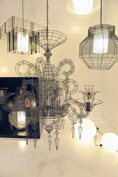 Amazing lighting from Forestier. Interior Lighting, Lighting Design, Wire Lighting, Interior Exterior, Interior Architecture, Wire Chandelier, Chandeliers, Wire Art, Decoration