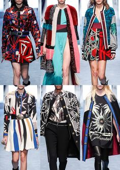 FAUSTO PUGLISI | Criss-Cross Patterns – Textured Embroidery – Palm Prints – Stripes – Fur Collage – 80's Graphic – Checkerboard Pattern – Opulent Damask – Golden Sun Embellishments | MILAN | http://vogue.co.uk