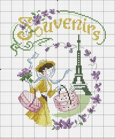 point de croix parisienne - cross stitch parisian woman
